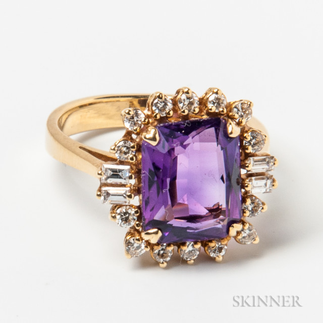 18kt Gold, Amethyst, and Diamond Ring (Lot 1294, Estimate $200-400)
