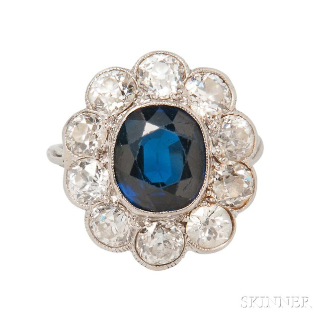Sapphire and Diamond Ring, c. 1915, (Lot 396, Estimate: $8,000-10,000)