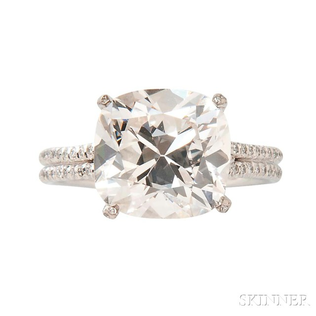 Platinum and Diamond Solitaire (Lot 399, Estimate: $75,000-85,000)
