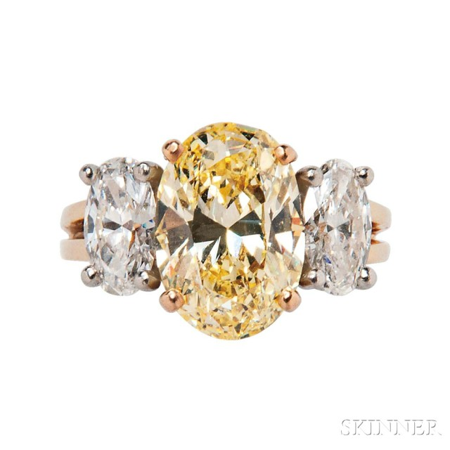 Fancy Yellow Intense Diamond Ring, Oscar Heyman (Lot 401, Estimate: $30,000-50,000)