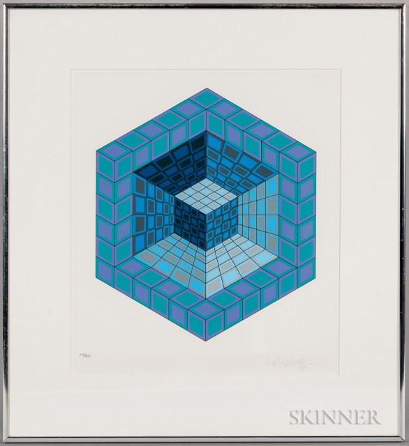 Victor Vasarely (Hungarian/French, 1908-1997)  Hexagon with Cube, edition of 250 (Lot 1037, Estimate $200-250)