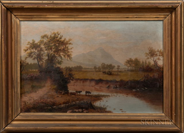 River View with Cows, American School, 19th Century (Lot 40, Estimate $300-500)