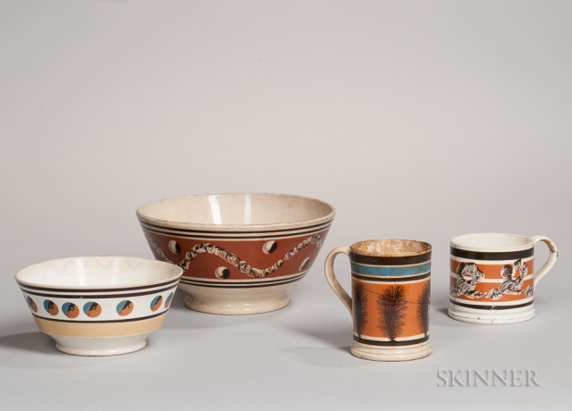 Four Mocha-decorated Ceramic Tableware Items, 19th century (Lot 18, Estimate $300-500)