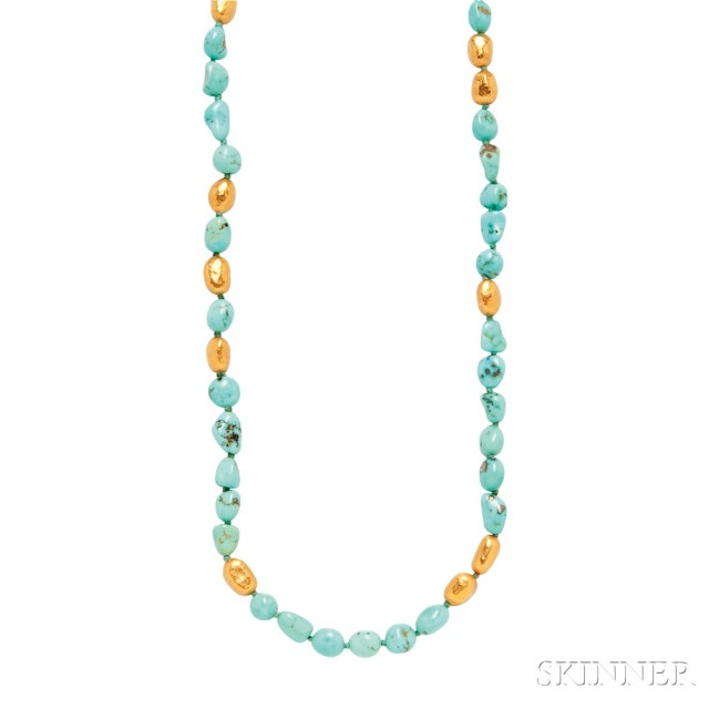 24kt Gold and Turquoise Necklace, Yossi Harari (Lot 1017, Estimate $1,000-1,500)