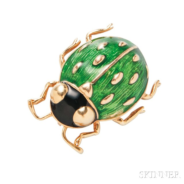 18kt Gold and Enamel Pin, Cartier (Lot 1028, Estimate $400-600)