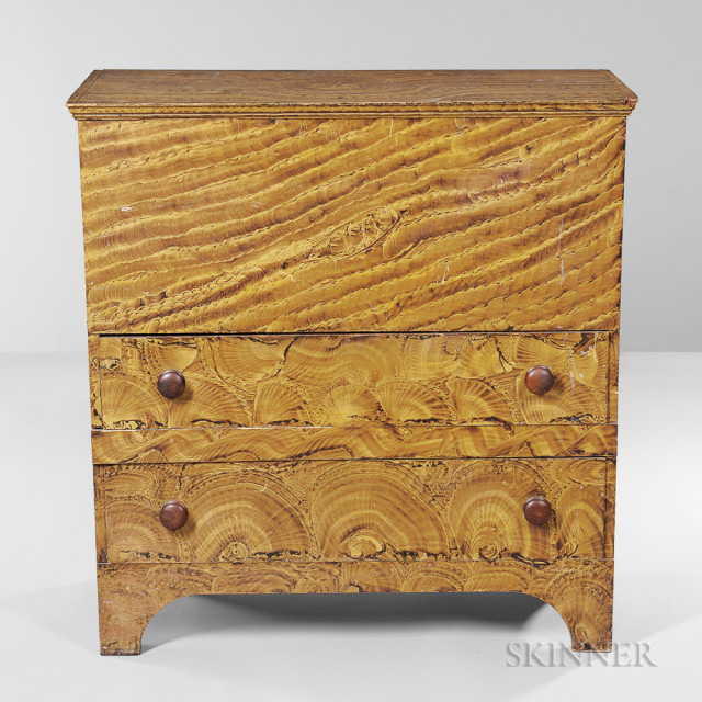 Putty-painted Pine Blanket Chest over Two Drawers, New England, early 19th century (Lot 78, Estimate $4,000-6,000)