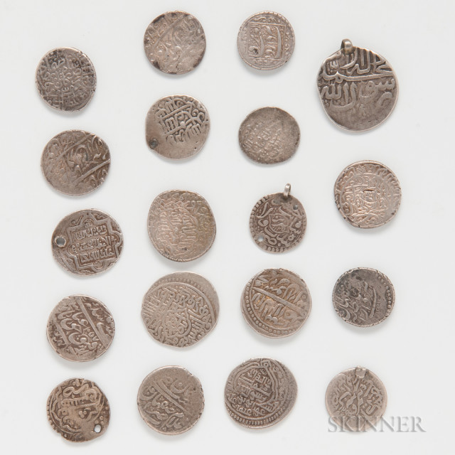 Twenty Mostly Mughal and Indian States Silver Coins (Estimate $400-600)