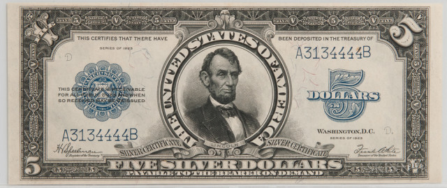 1923 $5 Silver Certificate, PCGS About New 53, Fr. 282 (Estimate $2,000-3,000)