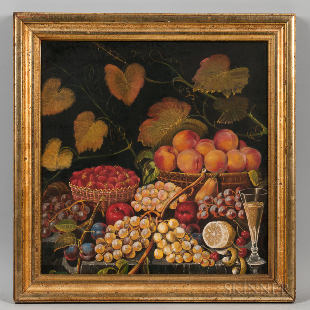 American School, 19th Century, Still Life of Fruit on a Table (Lot 1070, Estimate $600-800)