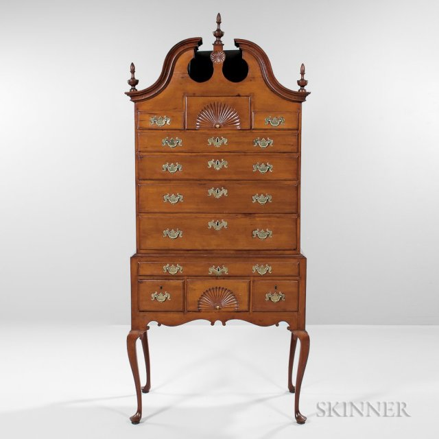Carved Cherry Scroll-top High Chest of Drawers, Wethersfield, Connecticut, area, c. 1760-80 (Lot 379, Estimate $8,000-12,000)