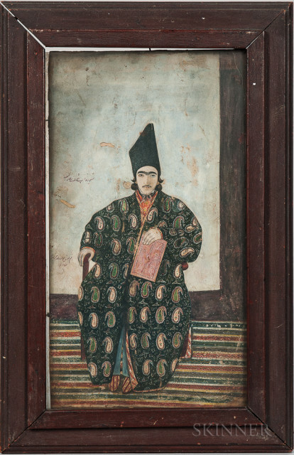 Portrait of a Princely Man, Persia, 19th century (Lot 5, Estimate $800-1,200)
