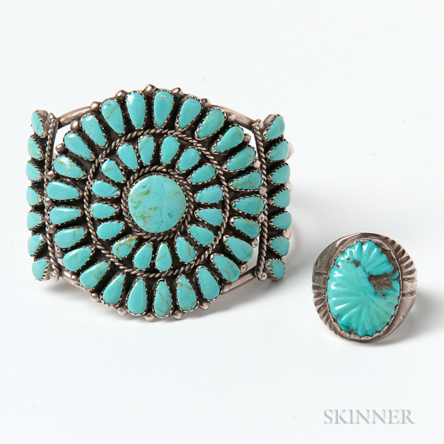 Sterling Silver and Turquoise Cuff and Turquoise Ring (Estimate $150-200)