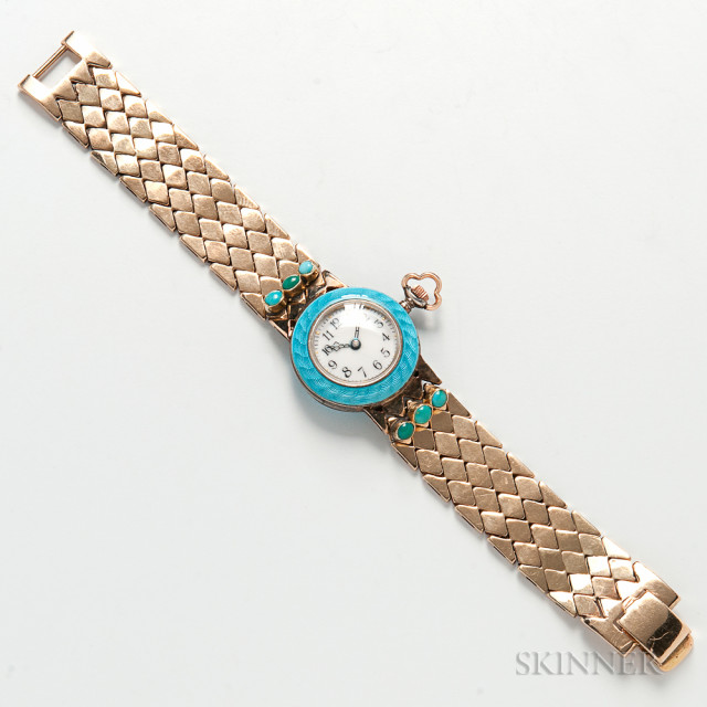 14kt Gold, Enamel, and Turquoise Wristwatch (Estimate $800-1,200)