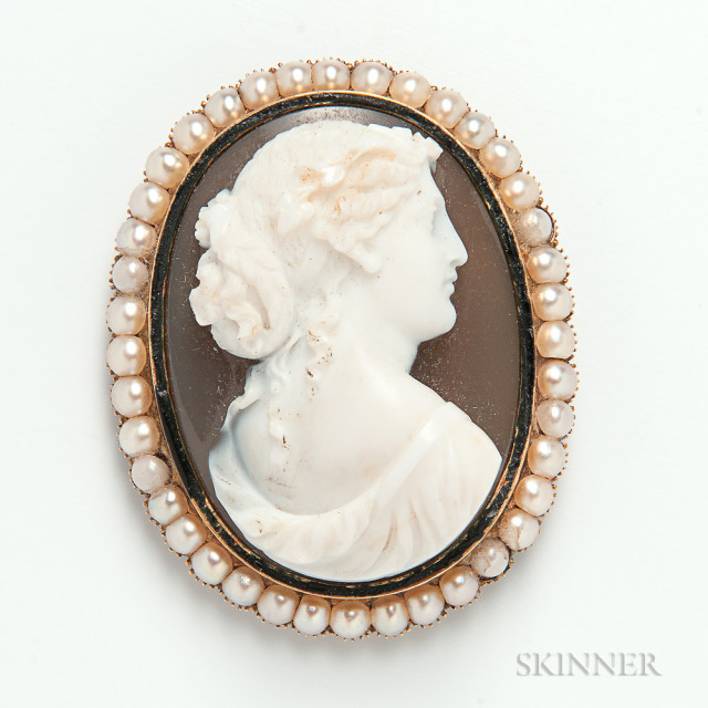 Victorian Gold- and Pearl-mounted Cameo Brooch, 1862 (Estimate $180-220)