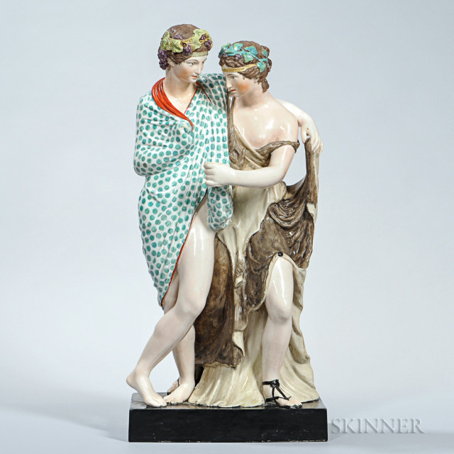 Staffordshire Pearl-glazed Earthenware Figure Group of Bacchus and Ariadne (Lot 312, Estimate $1,000-$1,500)
