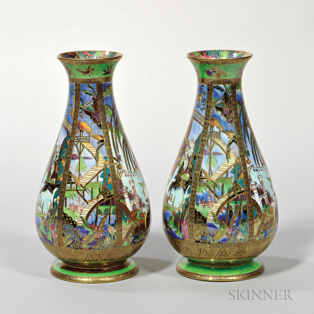 Pair of Wedgwood Fairyland Lustre Pillar Vases, England, c. 1925 (Lot 384, Estimate $4,000-6,000)