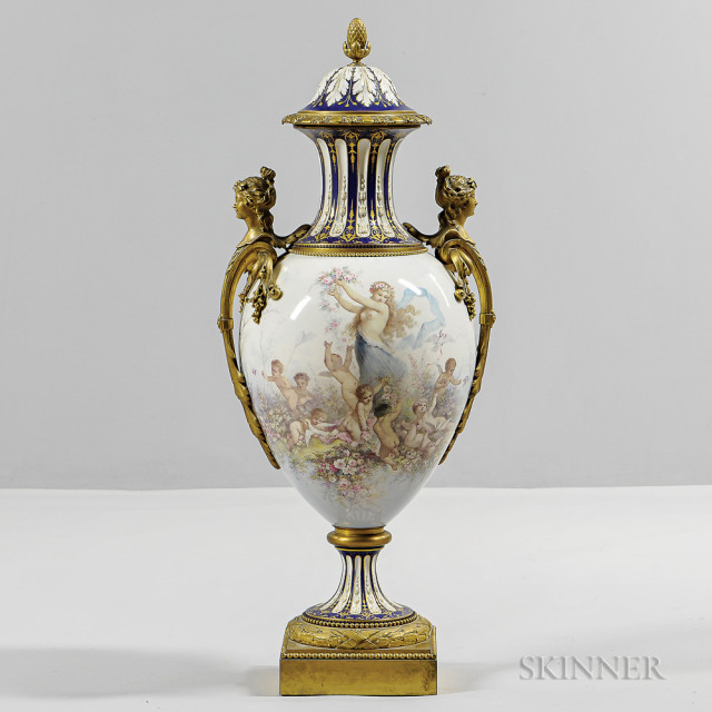 Sevres-style Porcelain and Gilt-bronze- mounted Floor Vase, France, late 19th/early 20th century (Lot 474, Estimate $2,000-4,000)