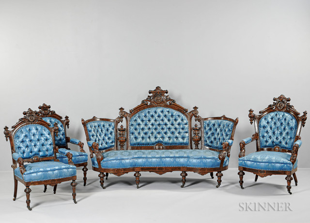 American Upholstered Carved Walnut Seating Suite, attributed to John Jeliff, c. 1879 (Lot 490, Estimate $2,000-4,000)