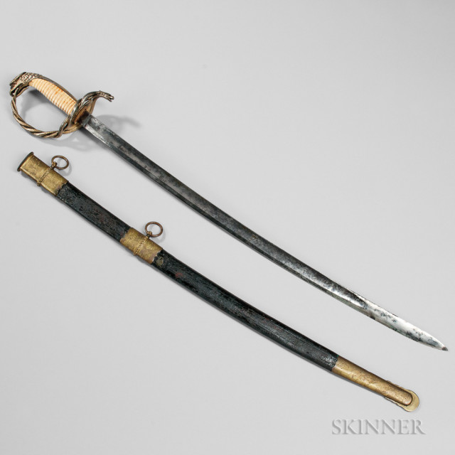 Thomas Griswold & Company Sword Presented to Captain J.F. Girault, and Pen and Ink Depiction of the Sword, c. 1861 (Lot 40, Estimate $25,000-35,000)