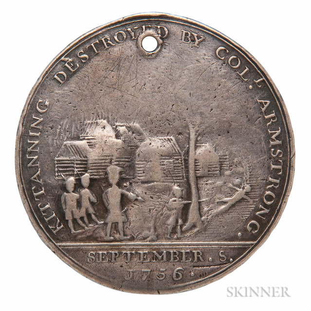 Silver 1756 Kittanning Destroyed Medal, Philadelphia, Pennsylvania, c. 1756 (Lot 42, Estimate $4,000-6,000)