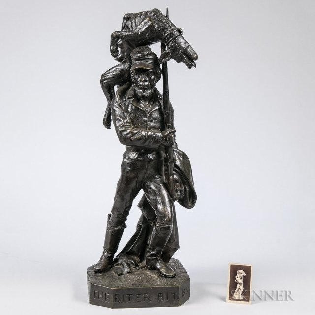 The Biter Bit Bronze Sculpture by Karl Muller, c. 1864 (Lot 134, Estimate $3,000-5,000)