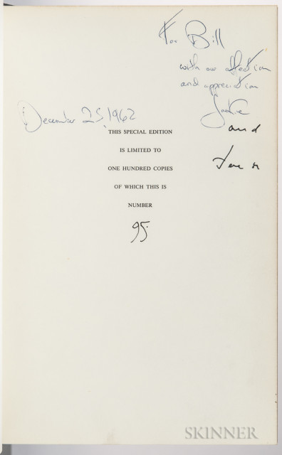John F. and Jacqueline Kennedy. The White House, an Historic Guide, Signed Presentation Copy, 1962 (Lot 347 est. $4,000-6,000)