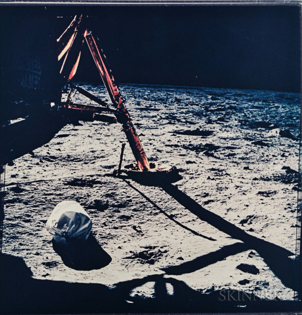 The first photograph taken by man on the surface of another world, Apollo 11, July 1969 (Estimate $700-900)