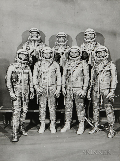The original seven project Mercury astronauts, Langley Air Force Base, July 1960 (Estimate $400-600)