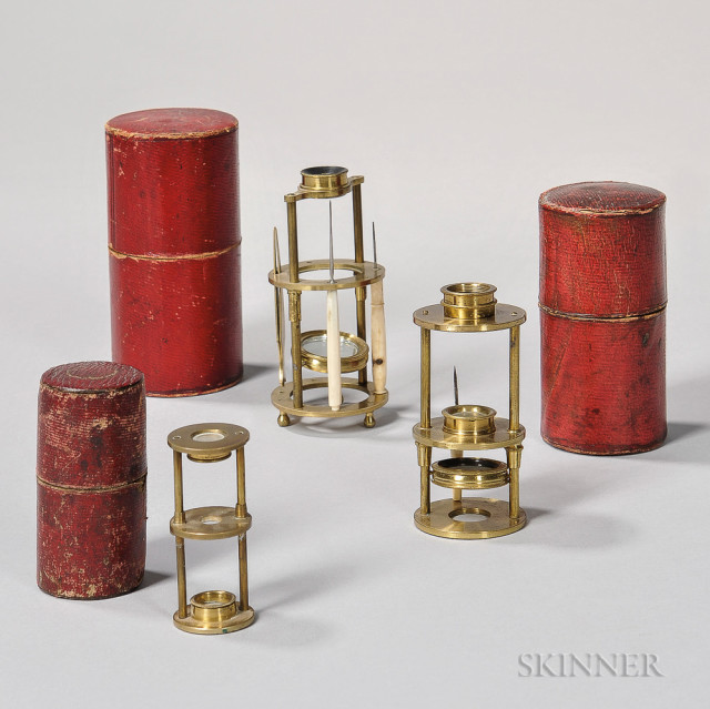 Three Withering-type Naturalist Microscopes, first quarter 19th century (Lot 212, Estimate $400-600)
