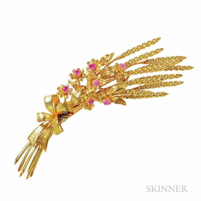 18kt Gold and Ruby Brooch, Tiffany & Co. (Lot 1062, Estimate $700-900)