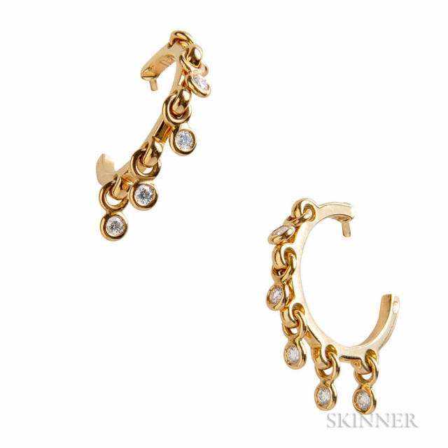 18kt Gold and Diamond Earrings, Dior (Lot 1101, Estimate $800-1,200)
