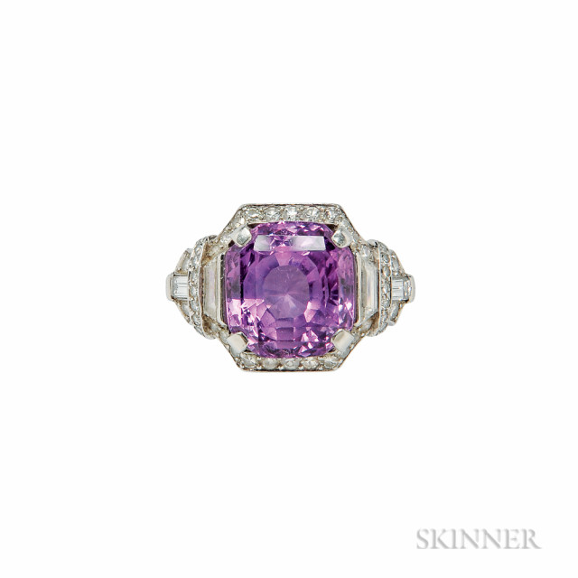 Art Deco Platinum, Pink Sapphire, and Diamond Ring, Raymond Yard (Lot 323, Estimate $6,000-8,000)