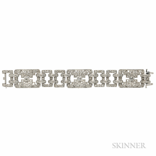 Art Deco Platinum and Diamond Bracelet (Lot 373, Estimate $6,000-8,000)