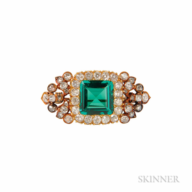 Antique Emerald and Diamond Brooch (Lot 384, Estimate $7,000-9,000)
