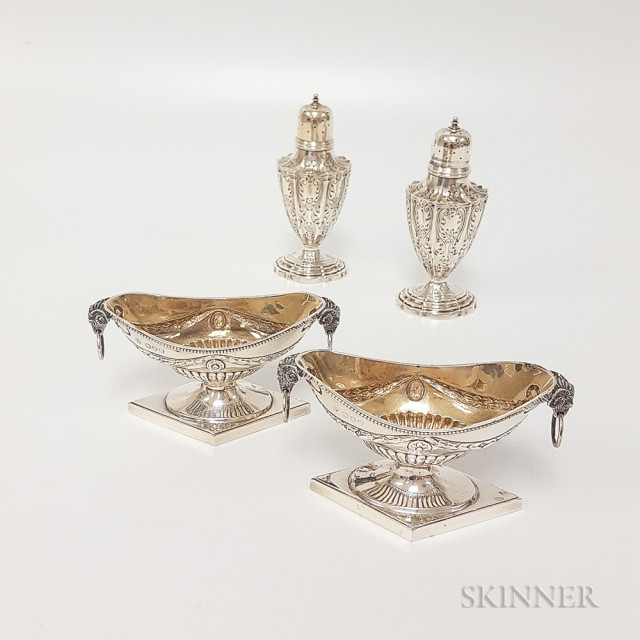 Two English Sterling Silver Salts and Two Sterling Silver Salt Shakers