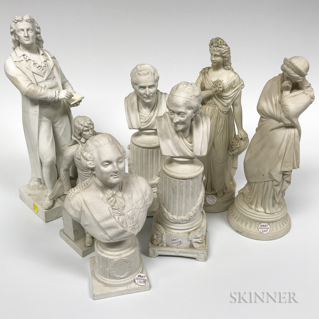 Seven Parian Figures and Busts