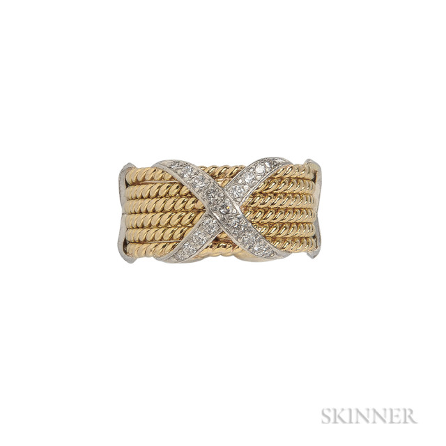 18kt Gold, Platinum, and Diamond 'Rope Six Row X Ring, Schlumberger, Tiffany & Co., Estimate: $1500-2000