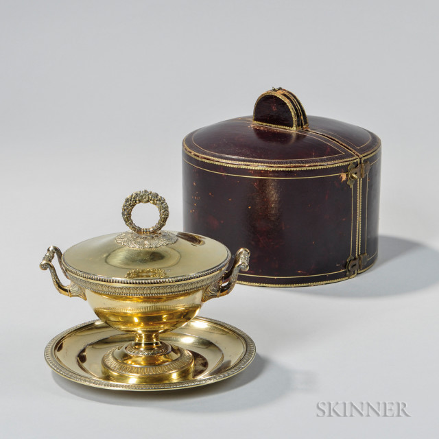 French .950 Silver-gilt Covered Bowl and Undertray