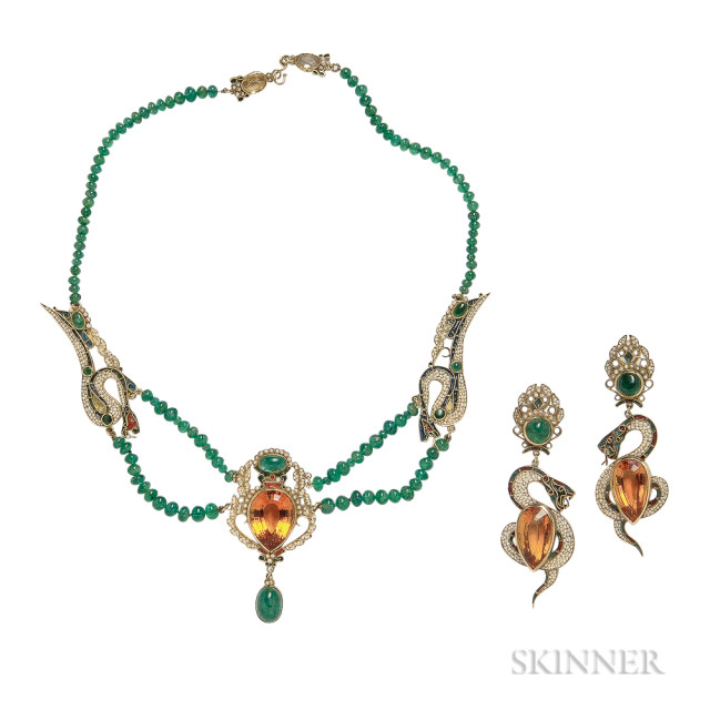 14kt Gold, Citrine, Emerald, and Seed Pearl Necklace and Earrings, Estimate: $800-1200