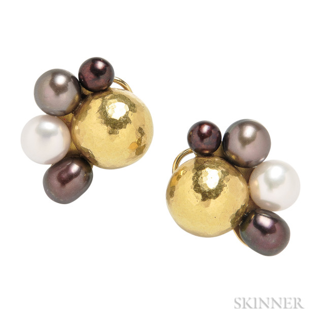 18kt and 22kt Gold and Cultured Pearl Earrings, Maija Neimanis, Estimate: $500-700