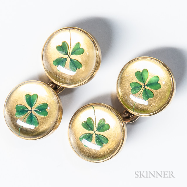 Pair of 14kt Gold and Crystal Shamrock Cuff Links