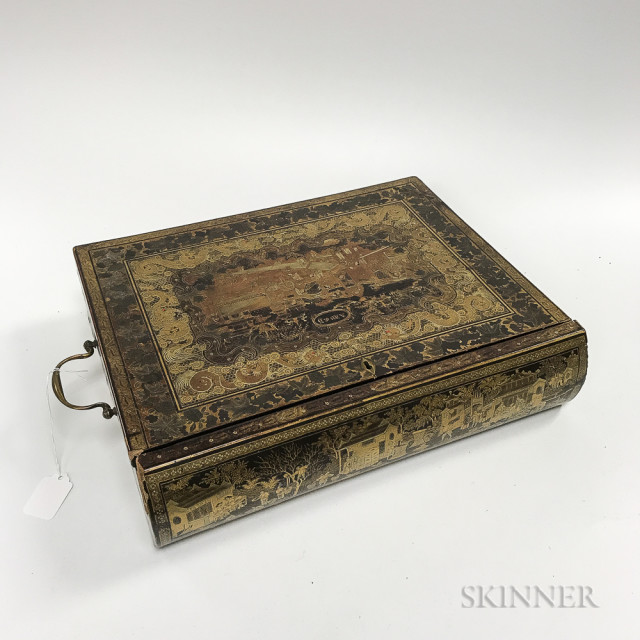 Chinese Export Gilt and Lacquered Writing Box, (Lot 1266, Estimate: $300-500)