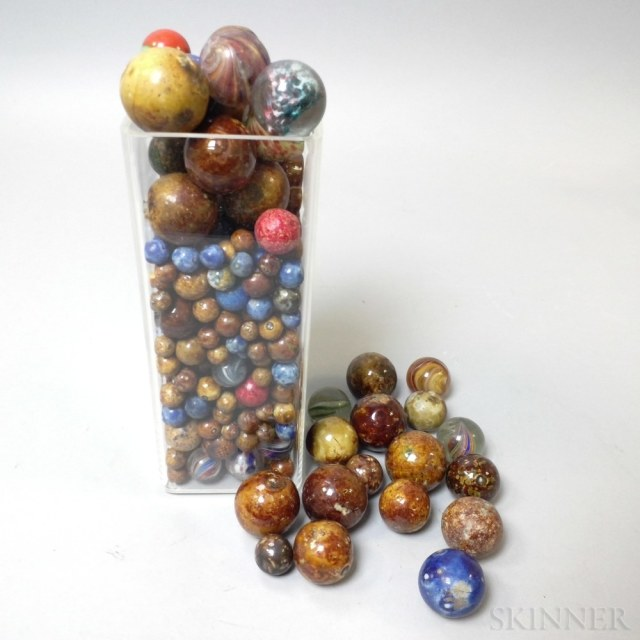 Group of 19th Century Ceramic and Glass Marbles (Lot 1235, Estimate: $100-200)