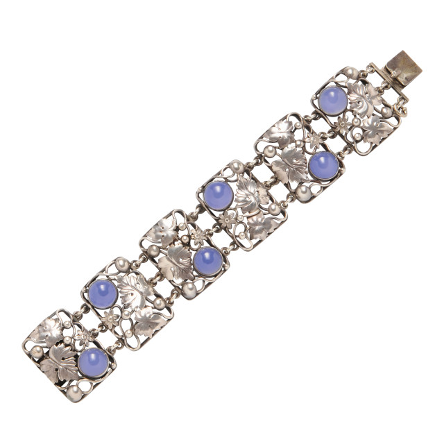 Arts and Crafts Sterling Silver and Dyed Blue Chalcedony Bracelet (Lot 1239, Estimate: $800-1,000)