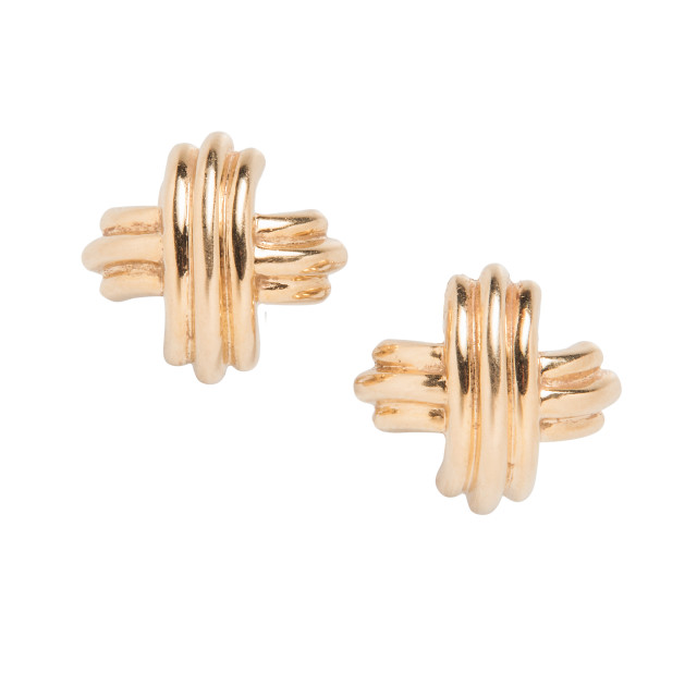 18kt Gold 'Signature' Earrings, Tiffany & Co. (Lot 1017, Estimate: $600-800)