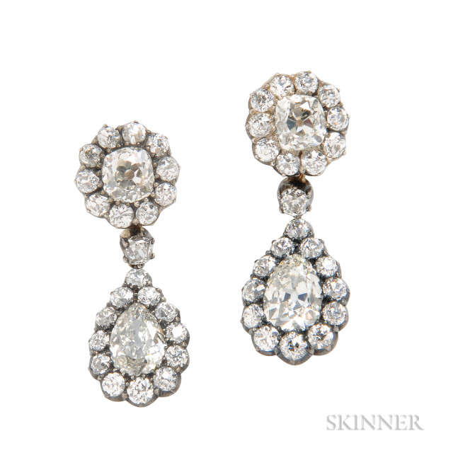 Antique Diamond Day/Night Earrings, approx. total wt. 6.50 cts. (Lot 105, Estimate: $3,000-5,000)