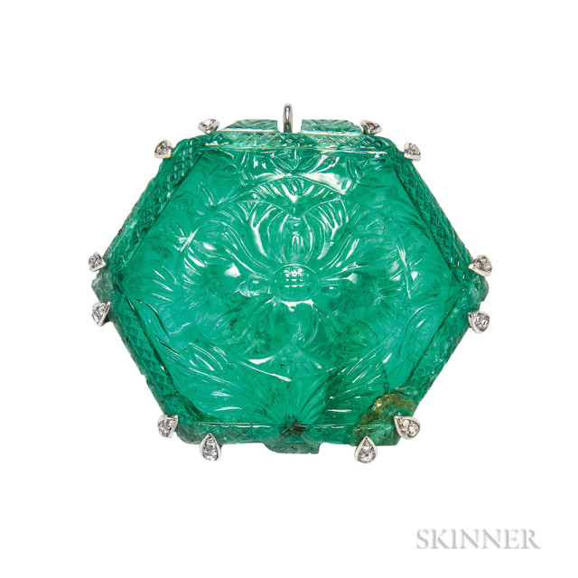 Carved Emerald From the Estate of Emily Crane Chadbourne (Lot 176, Estimate: $30,000-50,000)