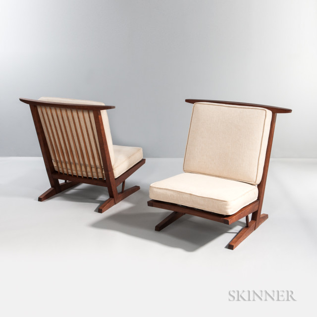 Two George Nakashima (1905-1990) Conoid Lounge Chairs (Lot 196, Estimate: $20,000-25,000)