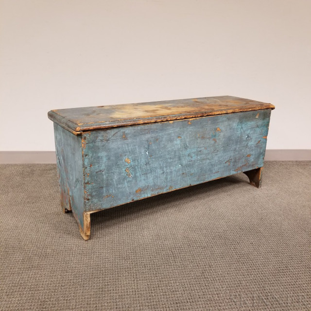 Early Blue-painted Pine Six-board Blanket Chest (Lot 104, Estimate $300-500)