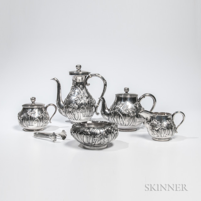 Five-piece Japanese Silver Tea and Coffee Service (Lot 93, Estimate $2,000-4,000)